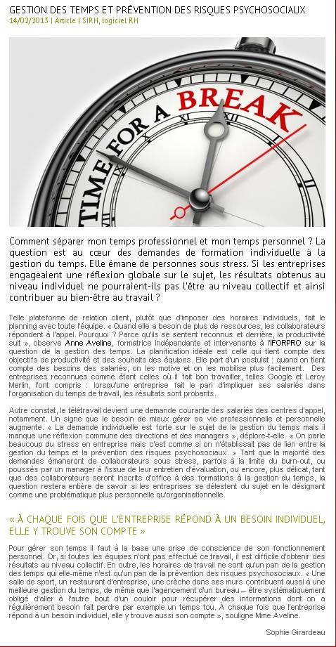 Gestion du temps et prévention des risques psychosociaux